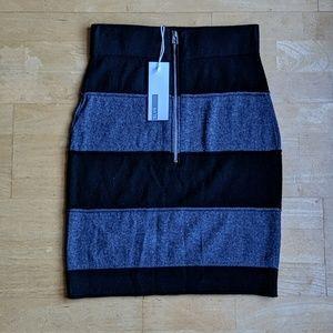 NWT Adidas and slvr wool silk color block skirt